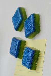 Ombre glitter epoxy resin fridge magnets
