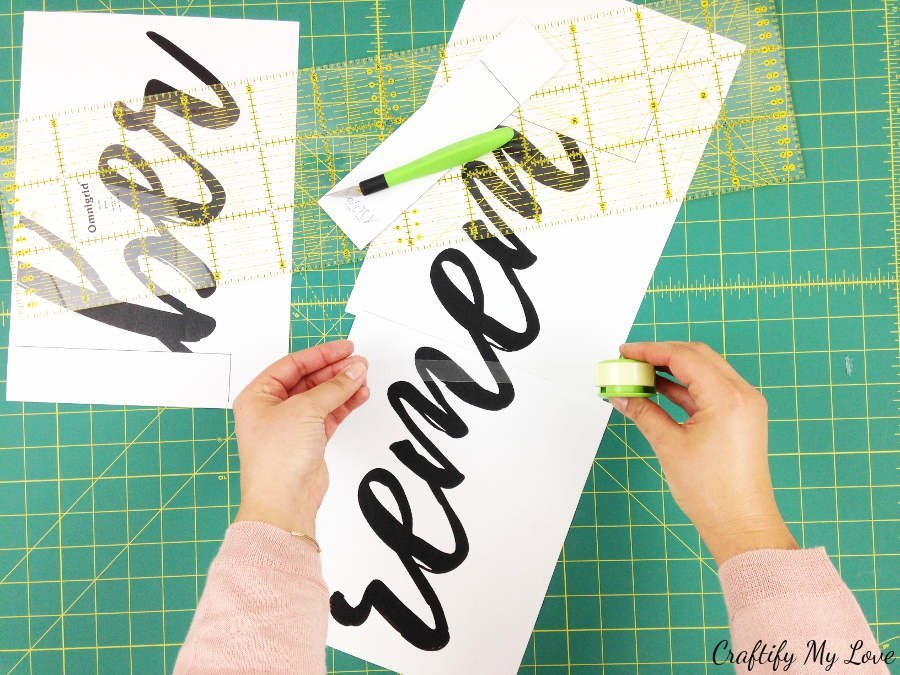 preparing the free template for remember wire lettering diy project