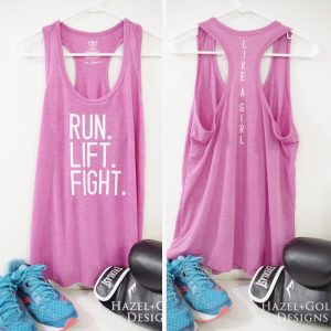 Run Lift Fight Like a Girl Workout Tank using the NEW Cricut SportFlex Iron-On™