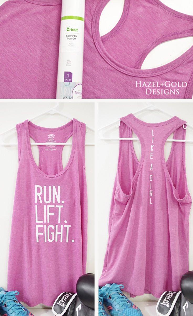run lift fight like a girl workout tank sportflex iron-on cricut