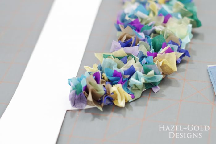 DIY Tissue Paper Monogram- fold paper into itself and decoupage to the kraft board letter
