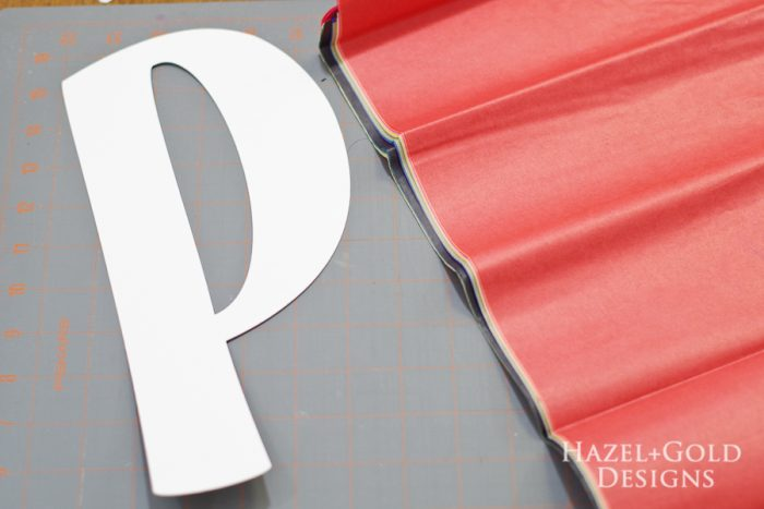 DIY Tissue Paper Monogram- Select the colors of tissue paper you want