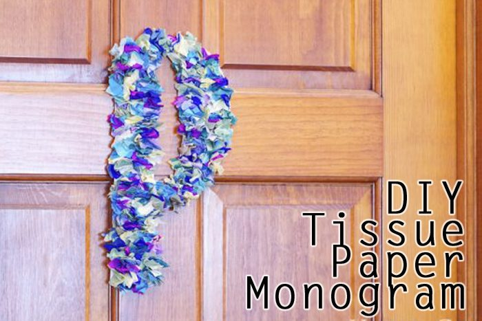 vCheck out how I made this tissue paper monogram quickly and easily! Make it in any shape and color!