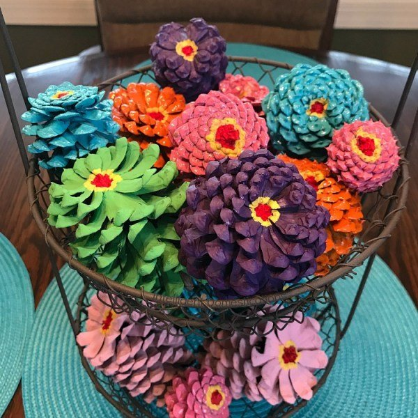 Zinnia-Painted-Pine-Cones-in-a-Two-Tier-Wire-Basket