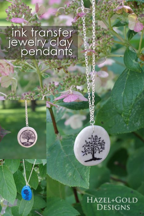Gorgeous DIY Ink Transfer Jewelry Clay pendants - learn how to make them with the step-by-step tutorial!