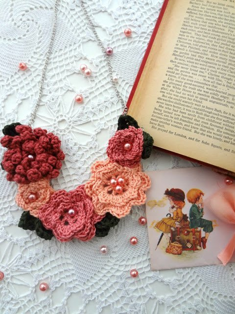 irish rose crochet necklace by little treasures