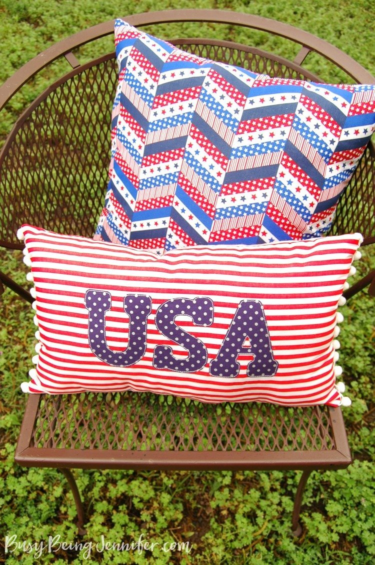 Red White and Blue Pom Pom PIllow by Busy Being Jennifer