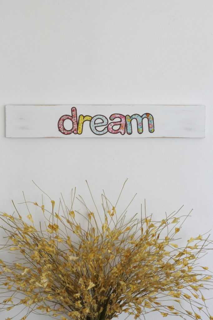 Fabric appliqued wood sign by sparkle Living