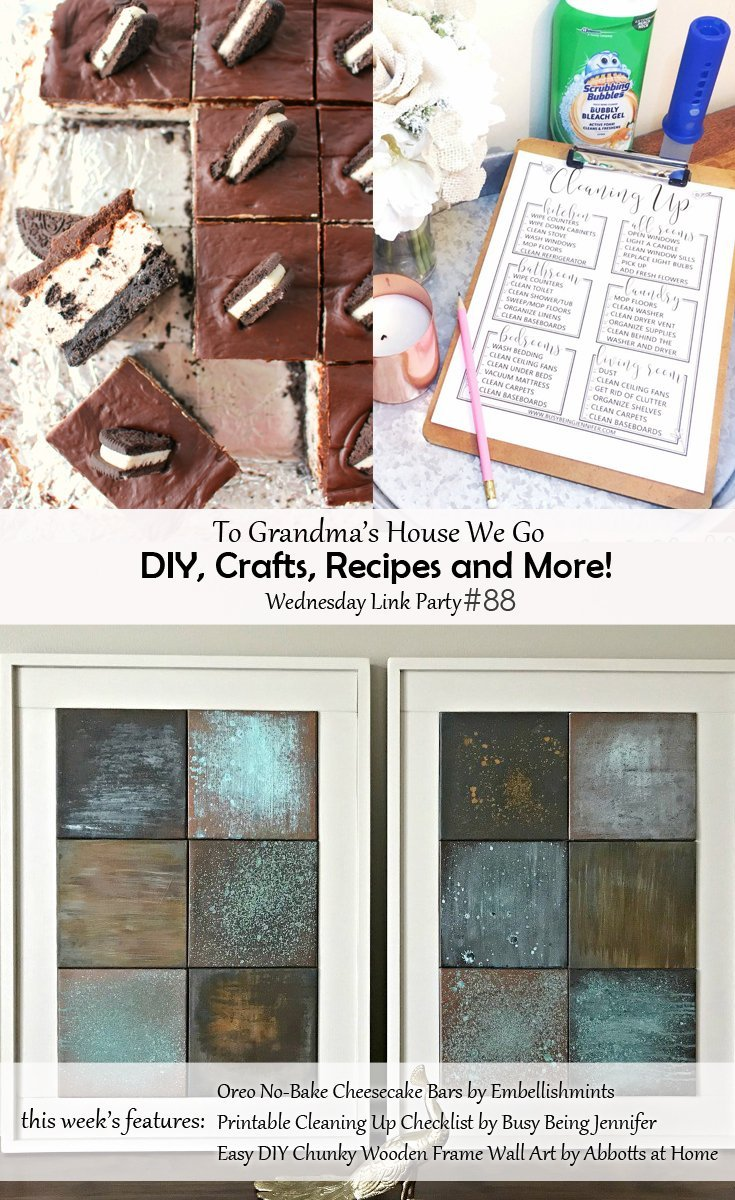 Come check out our weekly Wednesday link party where tons of creative bloggers link to their recent DIY, crafts, Recipes and More posts and we choose features each week. If you're a blogger, add your links to the party, if you're not, just check out the creative inspiration!