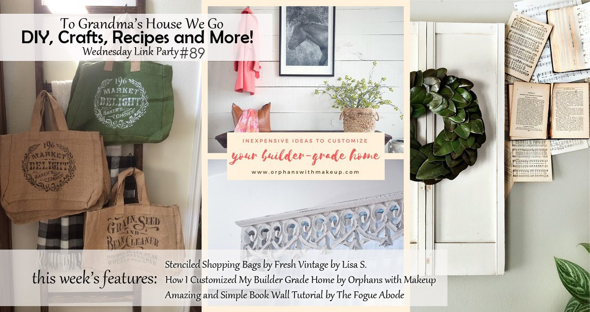 Check out our To Grandma's House We Go DIY, Crafts, Recipes and More wednesday link party each week, where we feature projects like these amazing book wall, Stenciled Shopping bags and home customization ideas! Enter your projects or get creative inspiration!