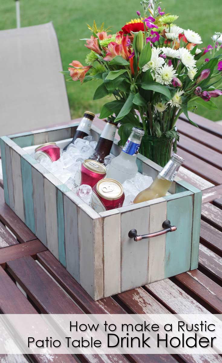How to Make a Rustic Patio Table Drink Holder - pinterest image