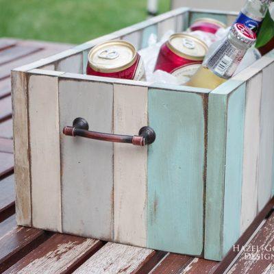 DIY Rustic Patio Table Drink Holder