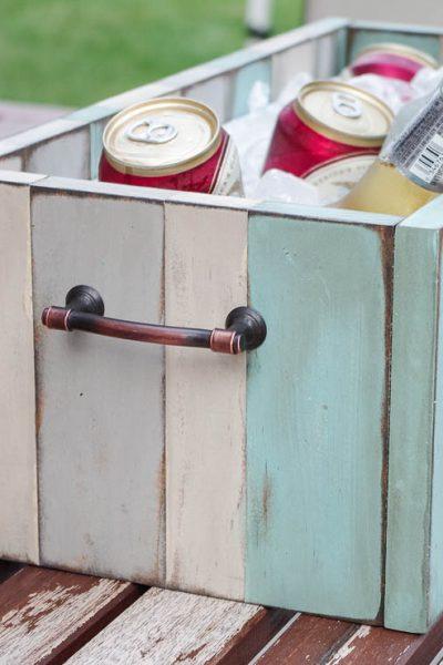 DIY Patio Table Drink Holder - finished photo horizontal