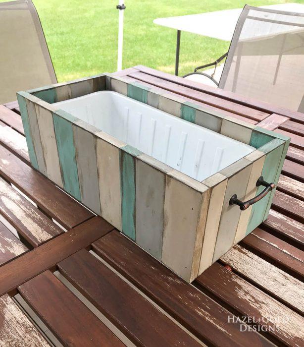 DIY Patio Table Drink Holder - place bin inside