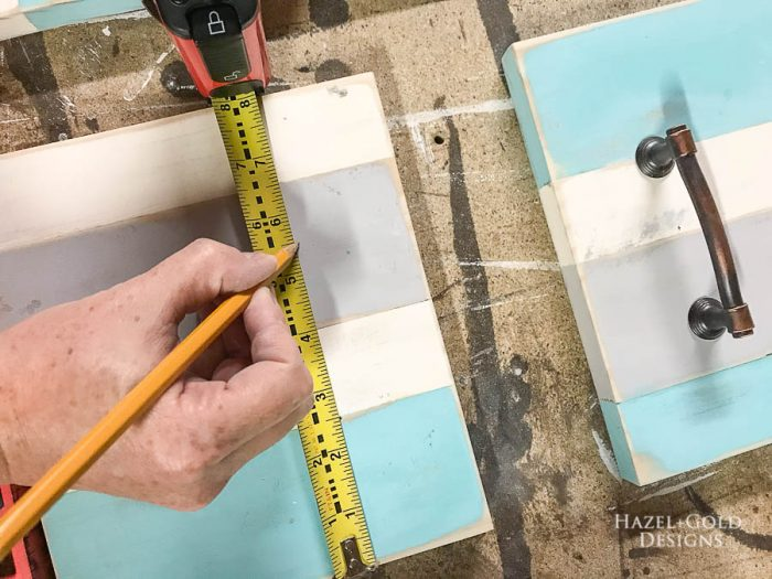 DIY Patio Table Drink Holder - Mark holes for handles1
