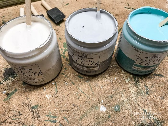 DIY Patio Table Drink Holder - texture chalk paint by folkart