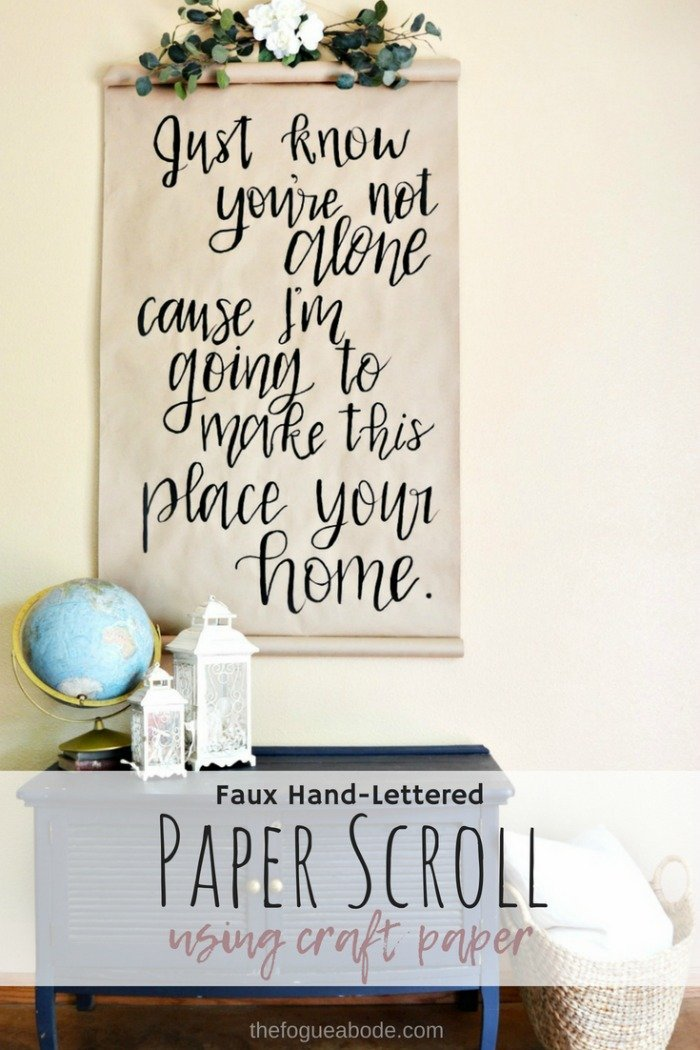DIY Faux Hand Lettered Paper Scroll Using Craft Paper
