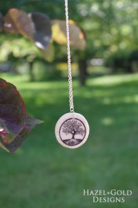Clay Pendant Ink Transfer- final photo of tree circle pendant