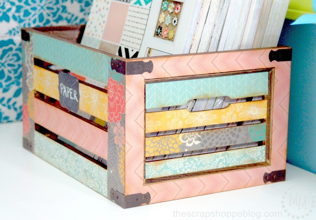 DIY decoupaged crate by The scrap Shoppe Blog