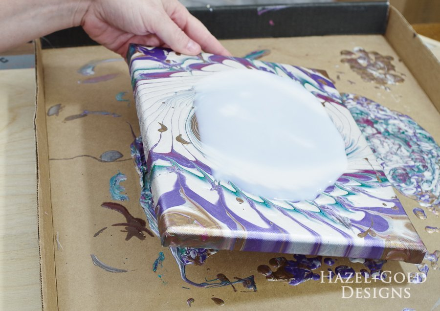 Acrylic Paint Pouring Art - Two Pours- use clear pour topcoat to add shine
