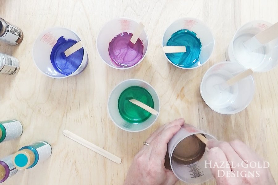 Acrylic Paint Pouring Art - Two Pours - mix colors with DecoArt pouring medium
