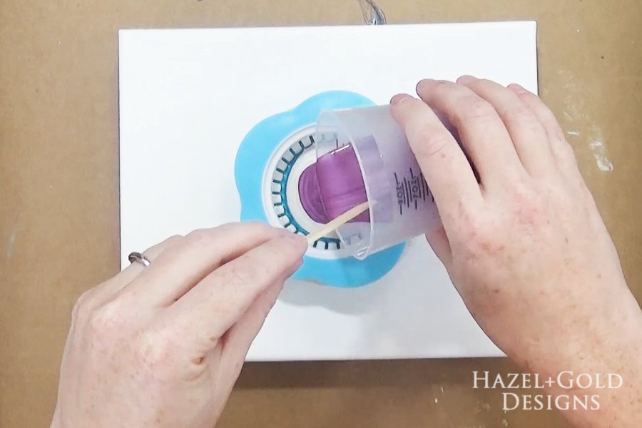 Acrylic Paint Pouring Art - Two Pours- begin pouring colors into center of strainer