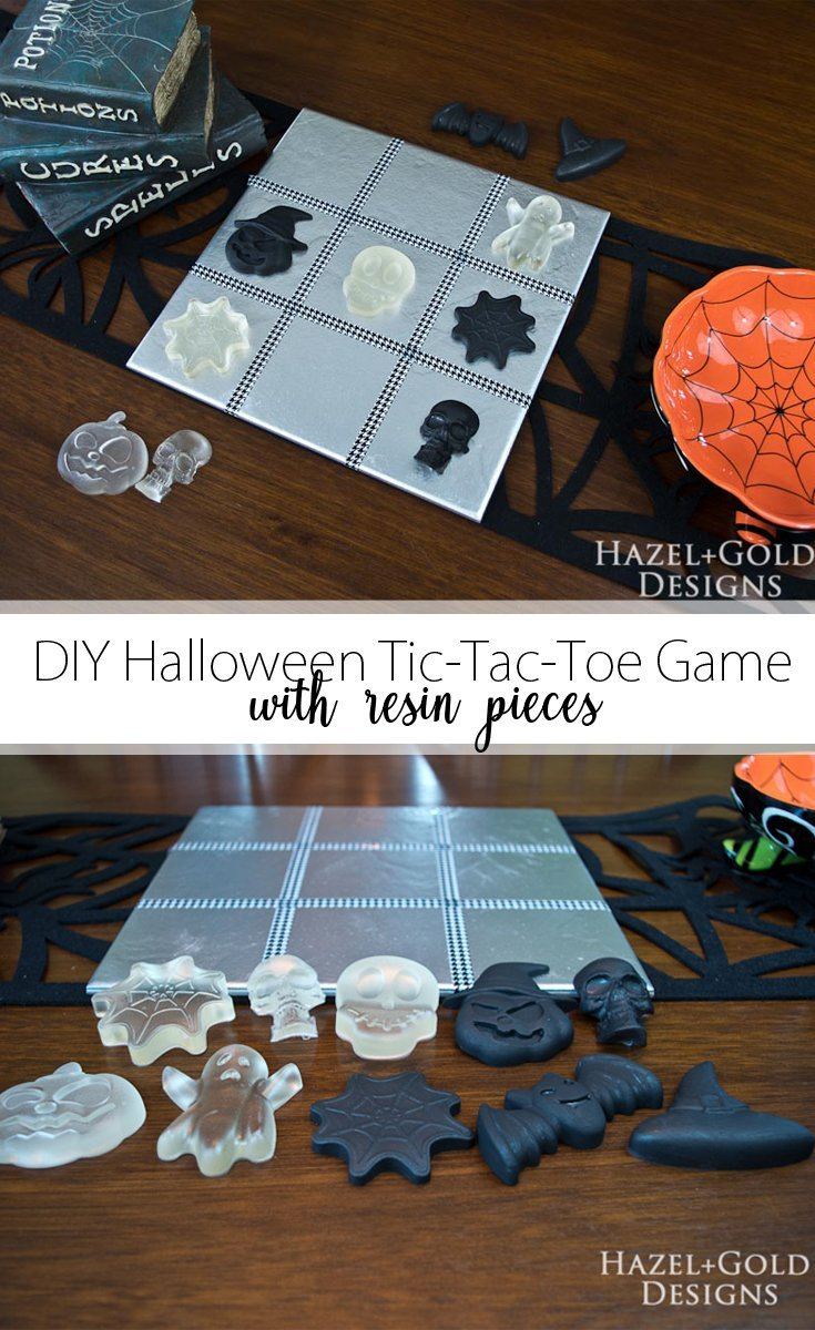 DIY Halloween Tic-Tac-Toe Game with Resin Pieces