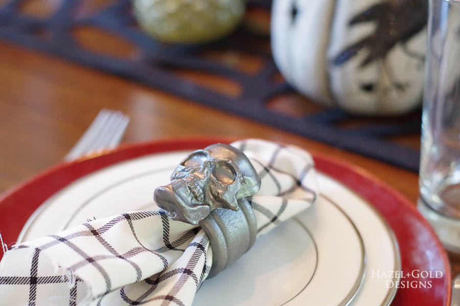 How to Make a Skull Mold - paint skulls and use for decor like these napkin rings