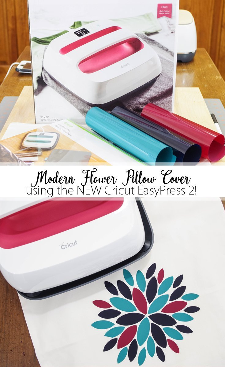 Modern Flower Pillow Cover using the NEW Cricut EasyPress 2 - pinterest image
