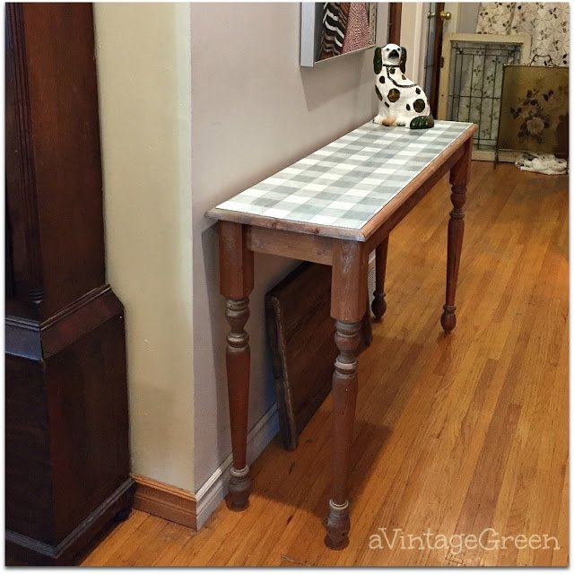 vintage green buffalo check table by a vintage green