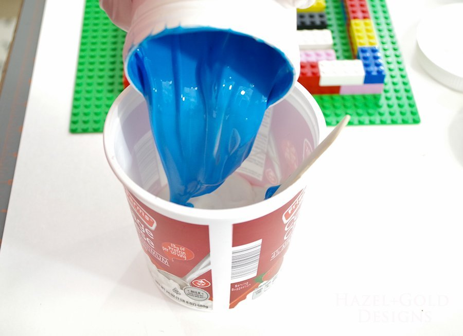 DIY Lego Mold-Pour part B into container with Part A