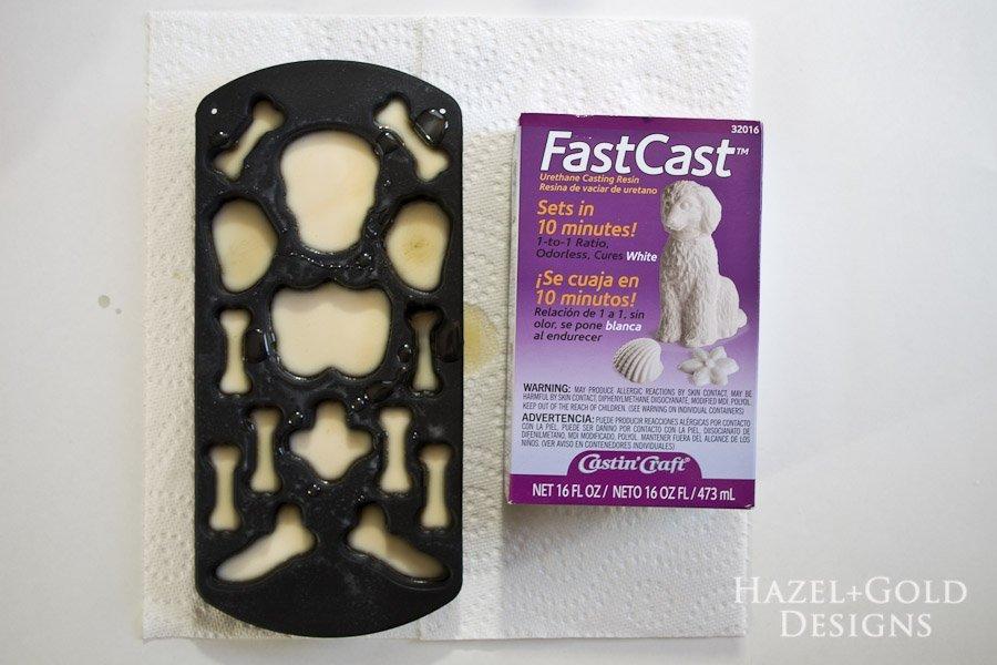 DIY Resin Framed Skeleton Halloween Decor - Let resin cure for 10 minutes
