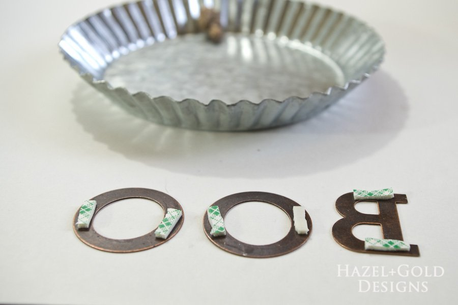"""Boo"" Decorative Galvanized Hanging Tin DIY Tutorial - add mounting tape to the back of them"