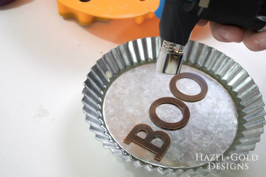 """Boo"" Decorative Galvanized Hanging Tin DIY Tutorial - pop bubbles with the micro butane torch"