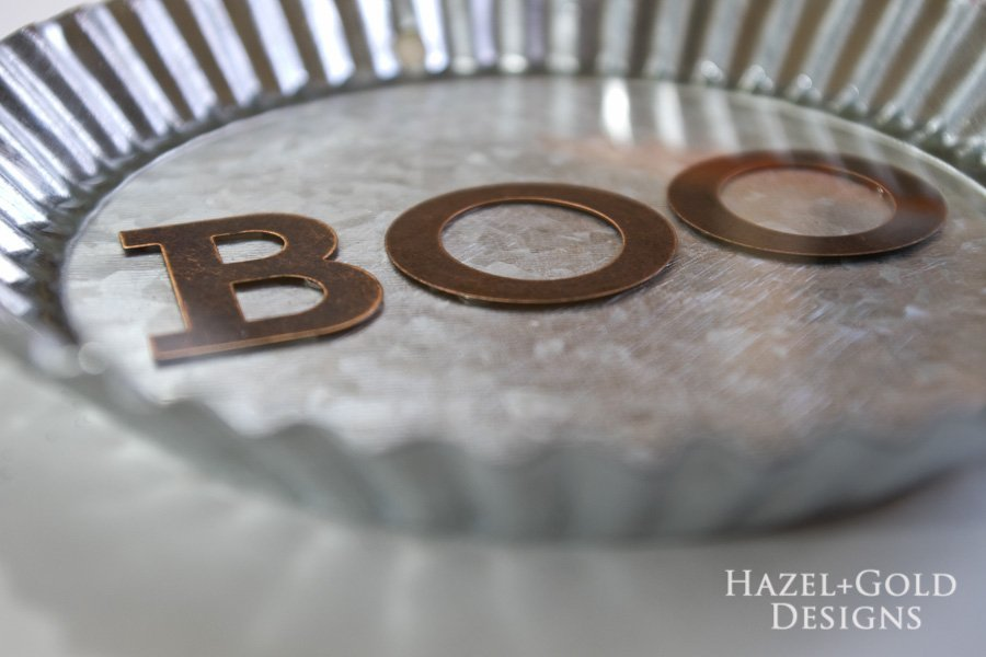 """Boo"" Decorative Galvanized Hanging Tin DIY Tutorial - let cure for 24-48 hours"