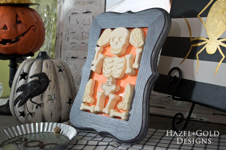 DIY Resin Framed Skeleton Halloween Decor - finished photo