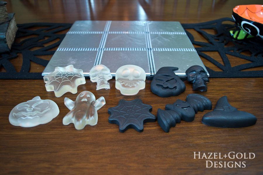 DIY Halloween Tic-Tac-Toe Game - paint five pieces with black paint