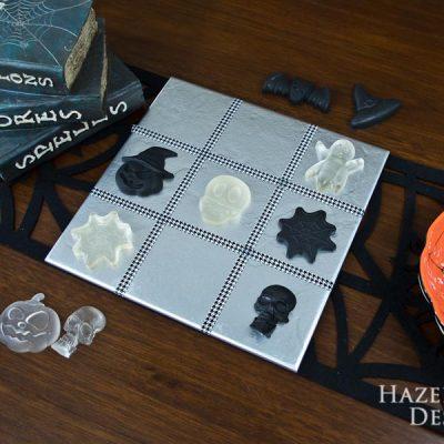 DIY Halloween Tic-Tac-Toe Game - Finished game