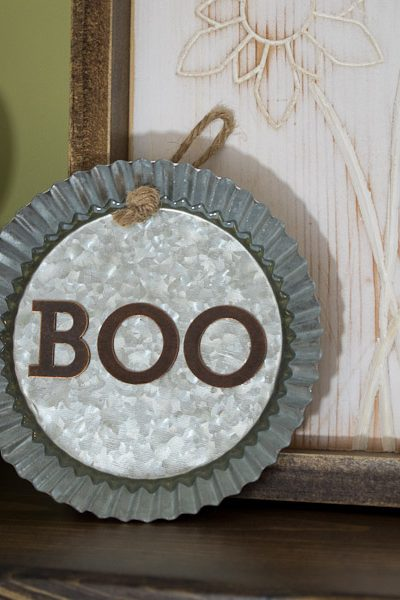"""Boo"" Decorative Galvanized Hanging Tin DIY Tutorial - finished horizontal"