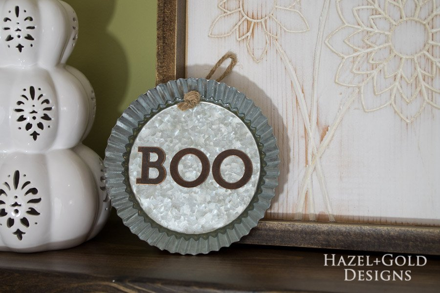 """Boo"" Decorative Galvanized Hanging Tin DIY Tutorial - finished horizontal"