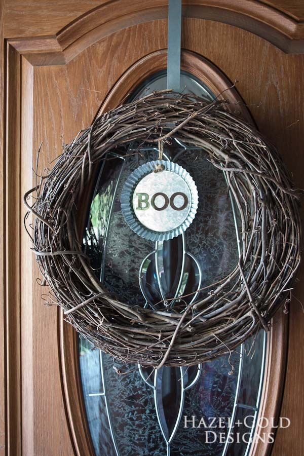 """Boo"" Decorative Galvanized Hanging Tin DIY Tutorial - finished vertical"
