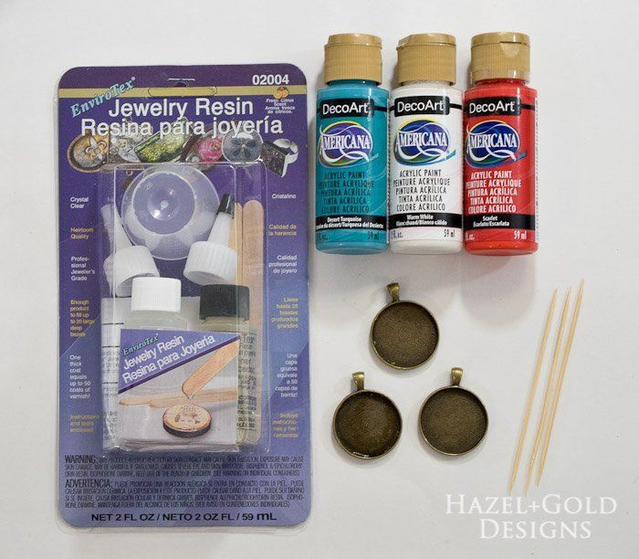 Paint and Resin Necklaces- supplies