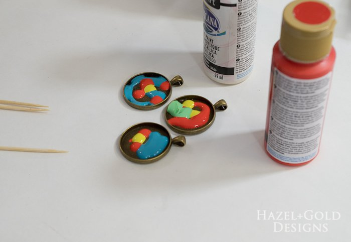 Paint and Resin Necklaces- add enough paint to cover entire bezel