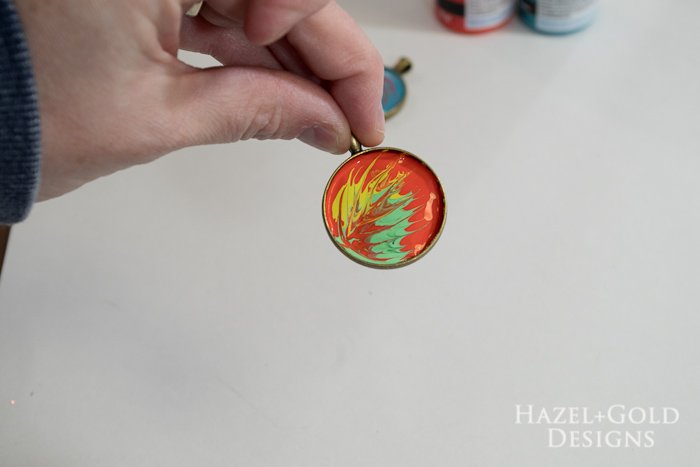 Paint and Resin Necklaces- pull from one side to create feather design