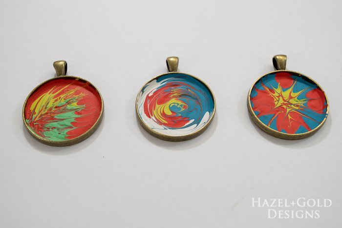 Paint and Resin Necklaces-let the paint completely dry
