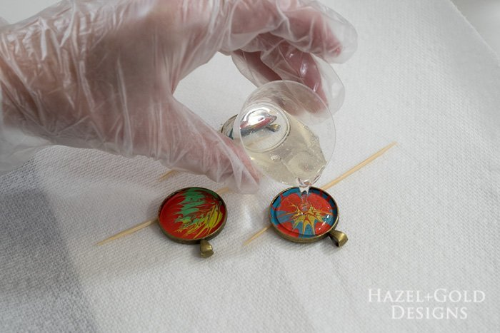 Paint and Resin Necklaces- pour into bezels carefully