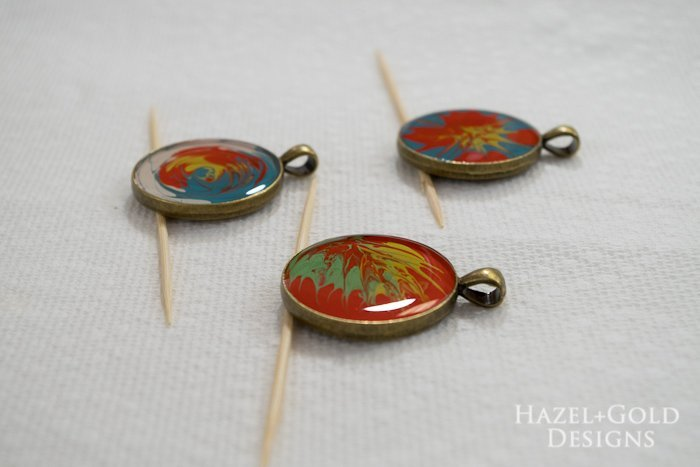 Paint and Resin Necklaces- let cure for 24 hours