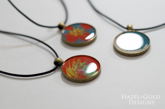 Paint and Resin Necklaces- finished necklaces horizontal