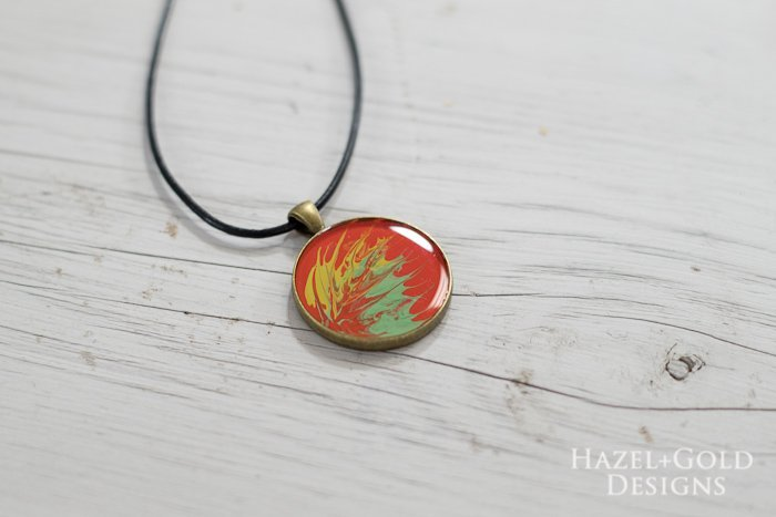 Paint and Resin Necklaces- finished feathered necklace horizontal