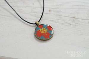 Paint and Resin Necklaces- finished starburst necklace horizontal